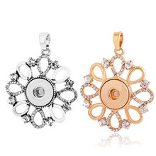 Rivca 18mm Rivca Snap Button Pendant Jewelry Crystal Vintage snap button Necklace For Women Gifts With Stainless Steel Chain
