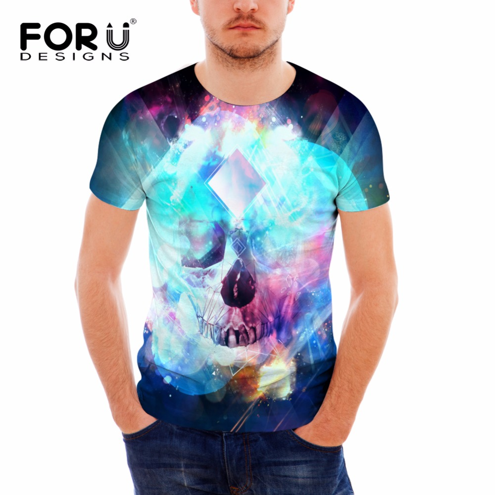 FORUDESIGNS Fashion Men Summer Cotton T Shirt Punk Skulls Printing Tee Shirt For Male O neck