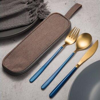 JueQi Tableware Set Cutlery Stainless Steel 304 Utensils Kitchen Dinnerware include Knife Fork TeaSpoons Camping Tableware Bag 4