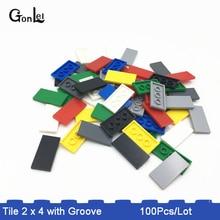 100Pcs/lot MOC Brick Tiles 2 x 4 with Groove Building Blocks Parts DIY Educational Creative Toys Compatible 87080