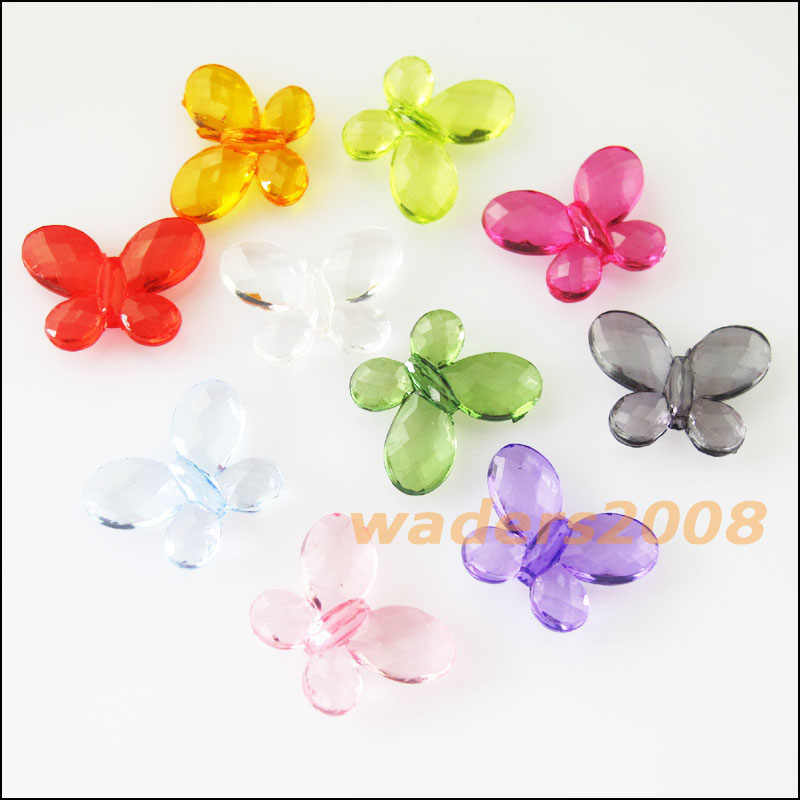 40Pcs Mixed Plastic Acrylic Clear Butterfly Spacer Beads Charms 13x17mm