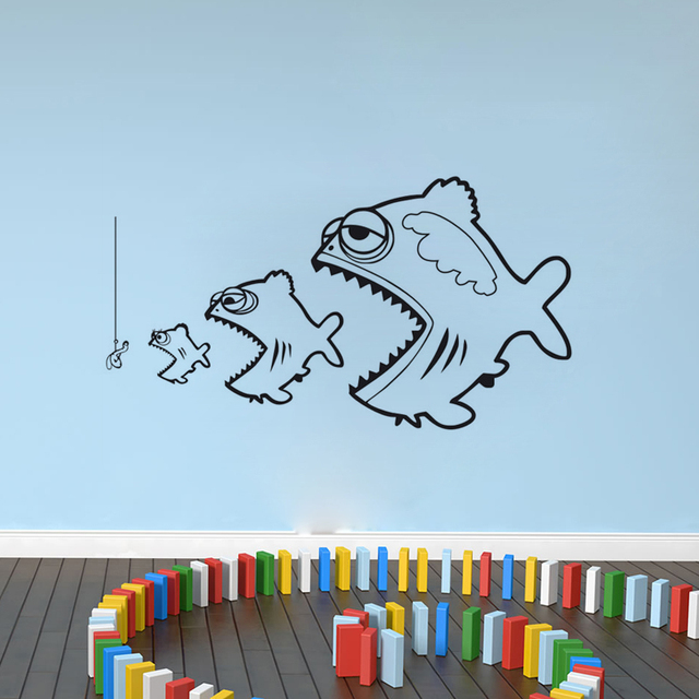 Ocean Survival Wall Decor Big Fish Eating Small Fish Wall Stickers Home  Decoration Vinyl Wall Decals