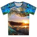 Novo 2016 do Verão do Menino Camisetas camisa de t para Crianças Partes Superiores Legal 3d impressão Ondas Do Mar Sol Criativo T-shirt 3d Camiseta fit 4-15 anos de idade