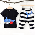 2016 Baby Boys Cute Clothing Toddler 2pcs Short Shark T-shirt +Striped Pant Suits Summer Baby Kids Clothes Clothing Sets
