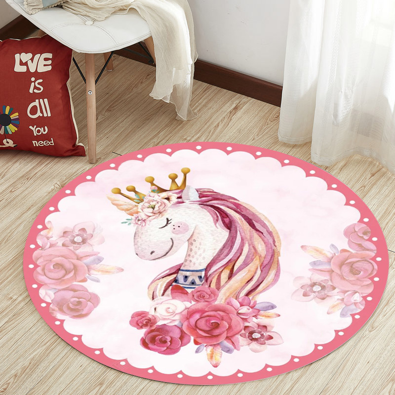 Nordic Unicorn Series Round Carpets for Living Room Area Rugs Computer Chair Floor Mat Child Cloakroom Rug Kids Tent Play Carpet in Carpet from Home Garden
