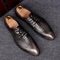 De calidad superior para hombre de negocios vestido de fiesta plana del dedo del pie puntiagudo zapatos de piel de cocodrilo en relieve de cuero genuino oxford zapatos de hombre Mocasines Hombre