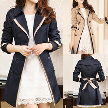 2017 Spring Autumn Overcoats Women's Trench Coats Long Sleeve Fashion Turn-down Collar Overwear Clothing S-XXXL