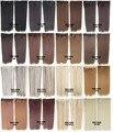 60 Cm 100g Mujeres Extensión Del Pelo Sintético Recta Larga Marrón rubia Natural 5 Clip En Extensiones de Cabello Postizo de Pelo 20 colores
