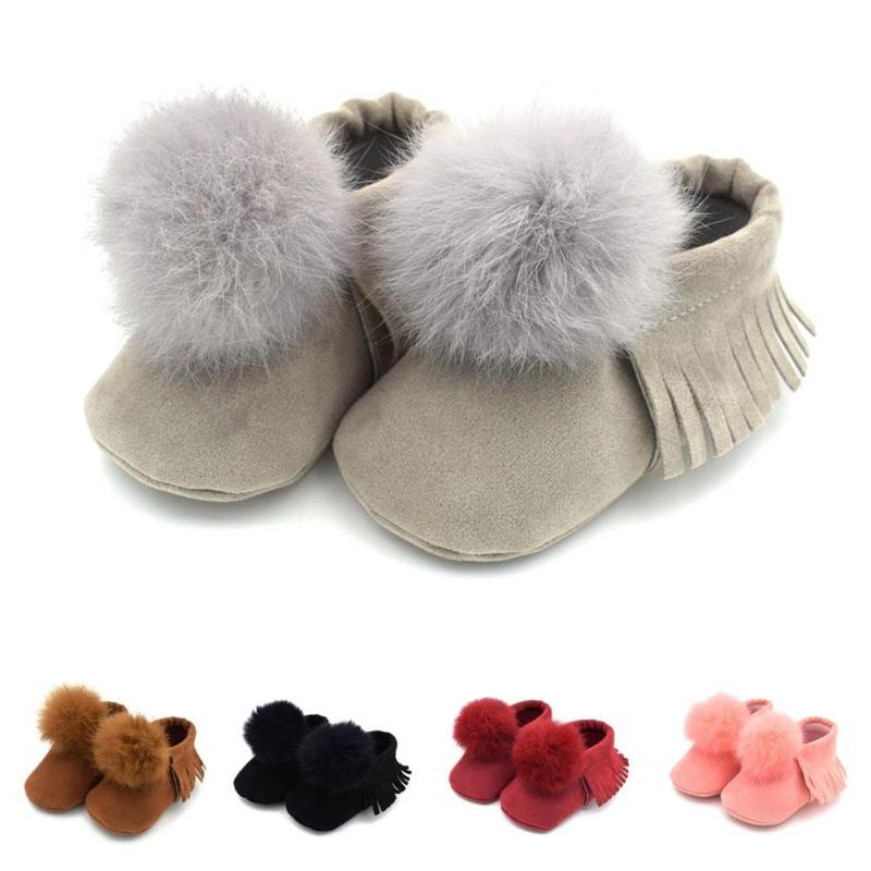 Baby First Walkers Boy Girl Moccasins Moccs Shoes Fur Pom Pom Crib Shoes infant Soft Soled Non-slip Footwear Prewalkers B3