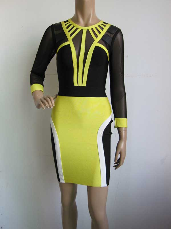 Wholesale Yellow and black stitching Long-sleeved gauze Fashion sexy Cocktail party Bandage dress (H0989)