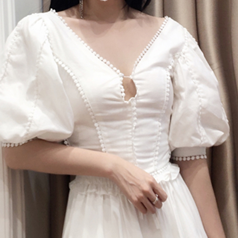 HIGH QUALITY Newest Fashion 2019 Designer Blouse Women's Puff Sleeve Back V Blouse Top