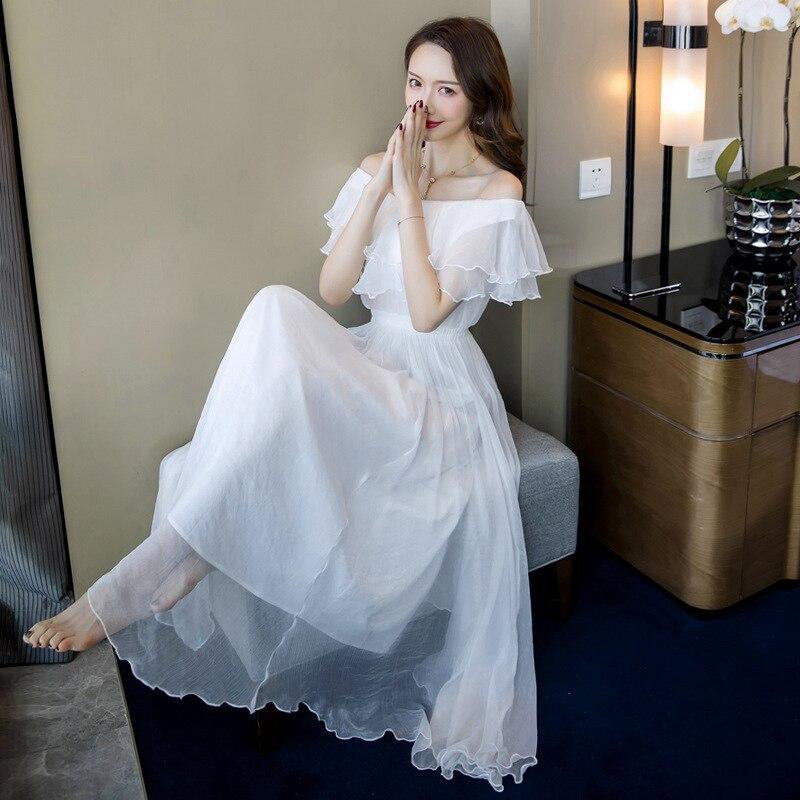 Grande taille a-ligne robe 2019 été femmes blanc à manches courtes volants Slash cou plage Boho longue robe élégante Maxi robe dames - 3