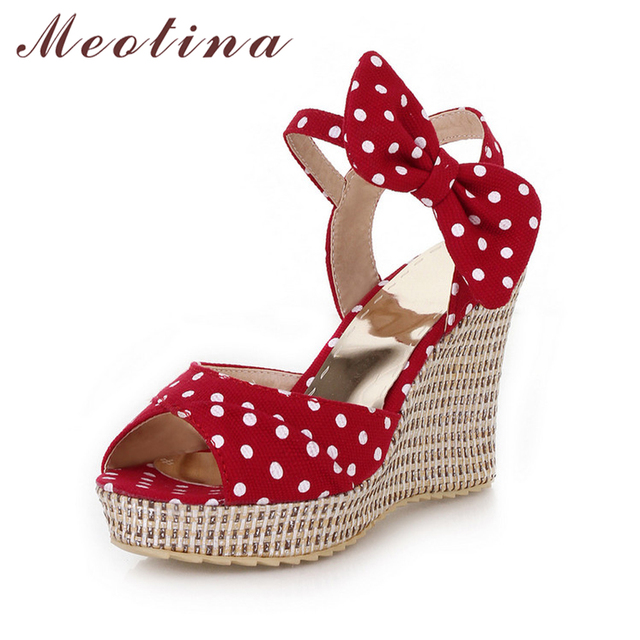 Meotina Summer Platform Shoes Ladies Fish toe Polka dot Bow Platform Wedges Heels Women Shoes Two Piece Ladies Shoes Red Blue