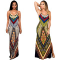 Summer Sexy printing Dress Sundress Women V-neck bodycon Beach Long Dress Maxi Dress Female Vestidos robe longue femme