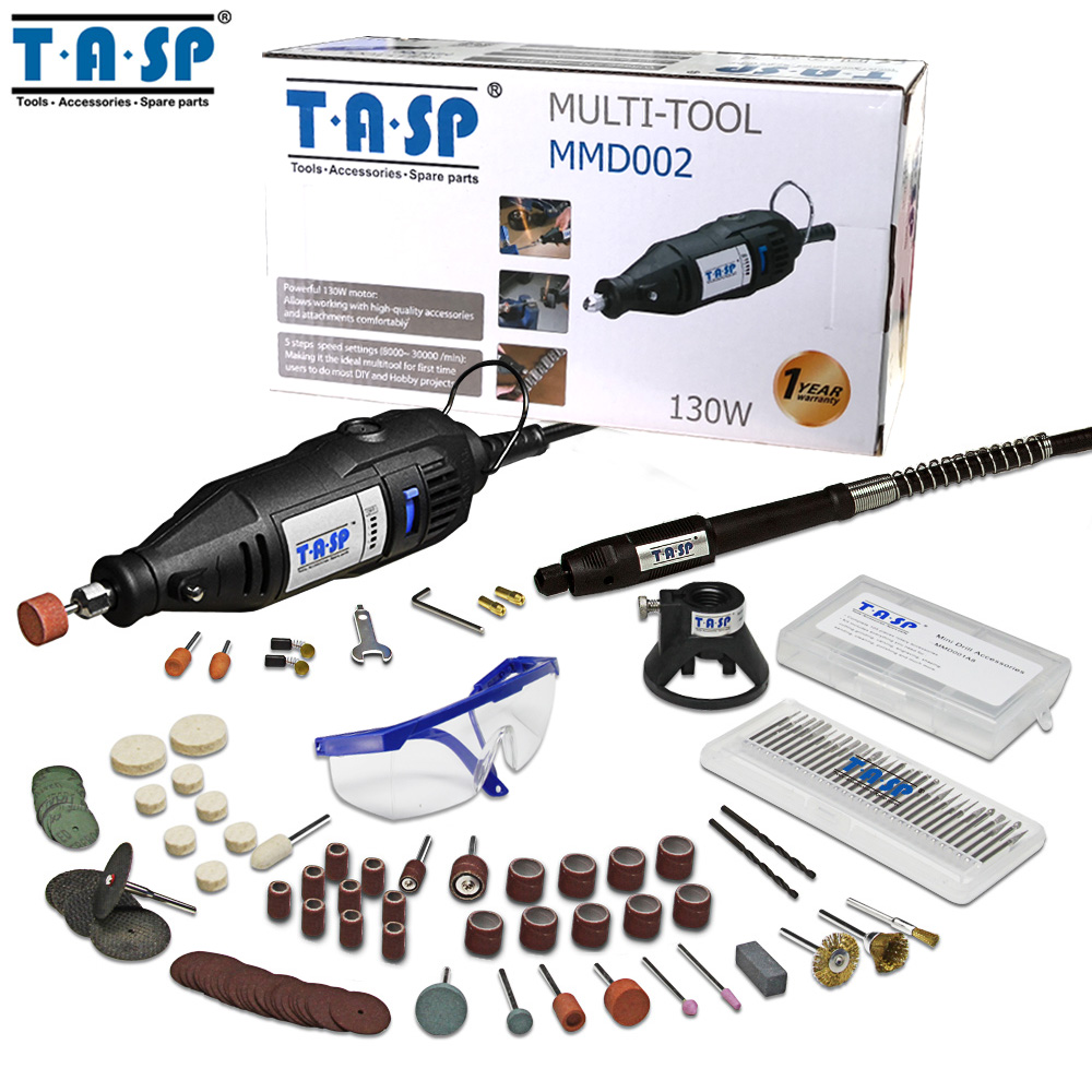 TASP 220V 130W Electric Mini Drill Set Rotary Tool Kit Variable Speed Engraver with 140pcs Accessories