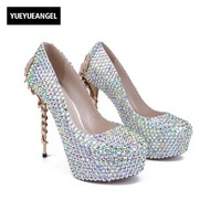 New Fashion Women High Heel Shoes Comfoerable Slip On Lady Sexy Crystal Pumps Metal Decoration For Women Dress Wedding Shoes