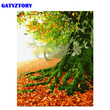 GATYZTORY Frame Trees Landscape DIY Painting By Number Modern Wall Art Canvas Painting Acrylic Paint By Numbers For Home Decors(China)
