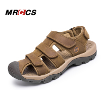 MRCCS Brand Big Size 38 46 Rome Retro Style Men's Gladiator Sandals,Breathable Genuine Leather Summer Beach/Water Shoes