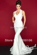 Elegant Halter V Neck Beaded Mermaid Long Formal Evening Dresses Gowns 2015  Arab Vestido Longo
