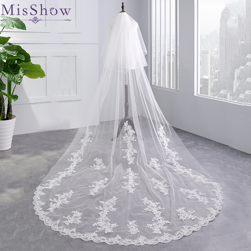In Stock High Quality 3.5 meter Two Layers Luxury Long 2019 Wedding Veil Bridal Veils Lace Veil with Comb Wedding Accessories