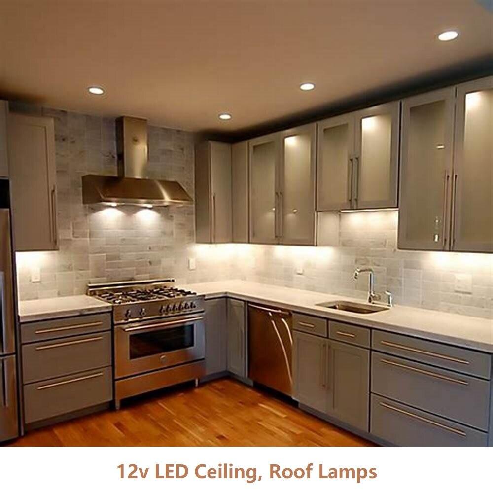 6шт постоянного тока 12V вело света шкафа Сид 3W потолочной лампы затемнения, теплый потолок/крыша освещения для кухни/счетчик/шкаф/выставочный зал
