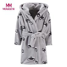 MUQGEW Kids Boy Girl Cartoon Flannel Bathrobes Hoodie Towel Long Sleeve Pajamas comfortable Night Sleepwear Clothes Gray 2-8Y