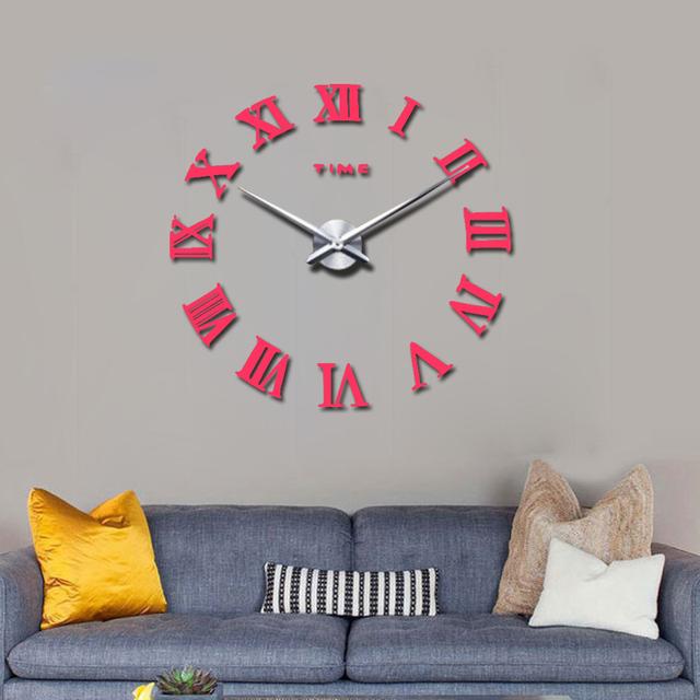 2017 new real home decorations quartz modern wall clock clocks watch horloge 3d diy acrylic mirror stickers  wood