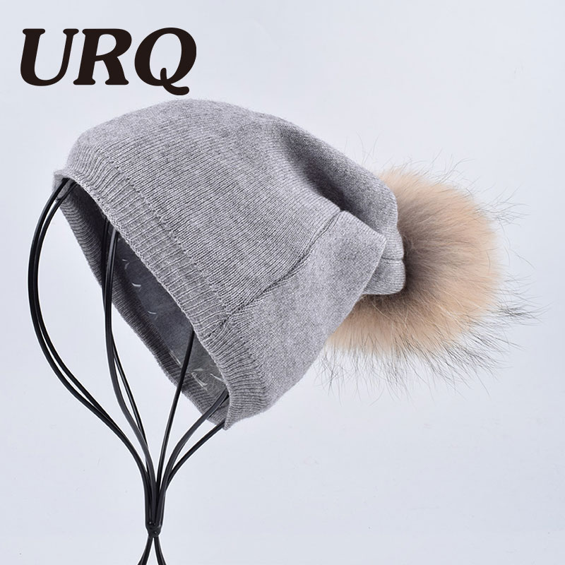 women winter rabbit and cotton blends cap hat Double layer real natural big raccoon fur soft warm Skullies & Beanies hot sale animal printing new plus side men and women with the double layer of warm ladies pile heap cap skullies hat knitted hat stripe