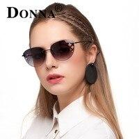 Donna женские металлические солнцезащитные очки кошачий глаз с цветком обода меньше зеркало солнцезащитные очки мода женские брендовые Диза...