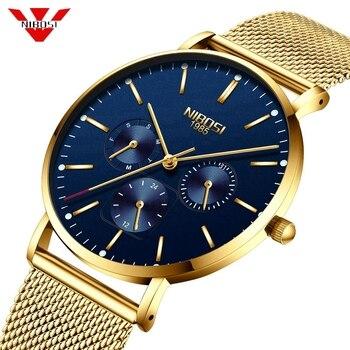 d310644b9 Relojes para hombre NIBOSI, relojes de marca superior de lujo de cuarzo  dorado para hombre, correa de malla, reloj informal deportivo a prueba de  agua, ...