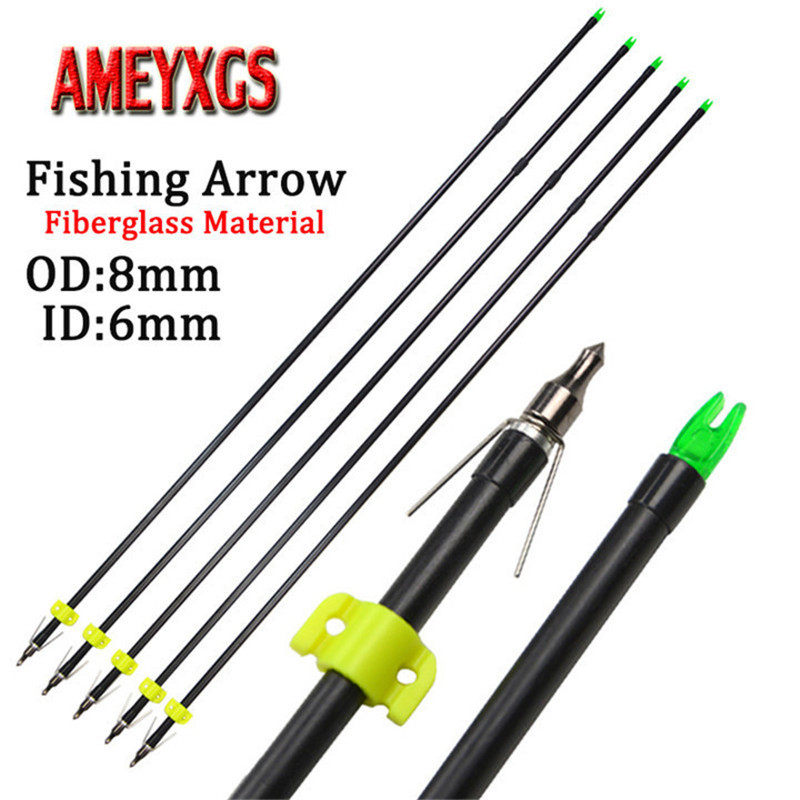 9 12pcs 31 5inch Archery Fishing Arrow Fiberglass Arrows OD8mm Bowfishing Safety Slider For Outdoor Hunting Shooting Accessories in Bow Arrow from Sports Entertainment
