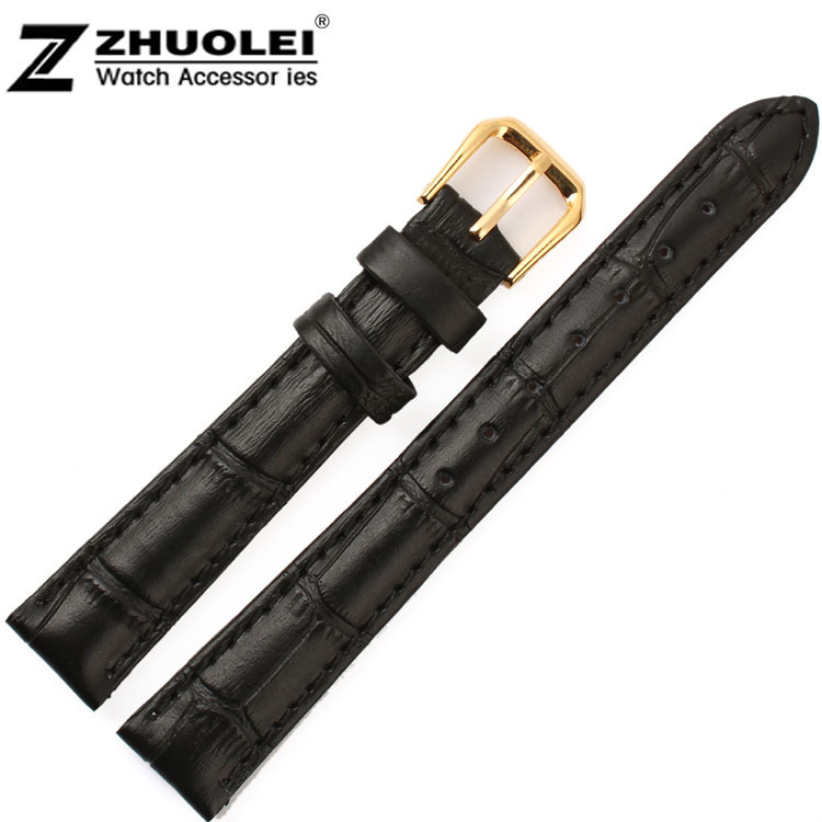 Wholesale 12mm 14mm 15mm 16mm 17mm 18mm 19mm 20mm Brown Black Alligator Pattern Genuine Leather Watch Bands Straps Bracelets watch band12mm 14mm 16mm 18mm 20mm lizard pattern black genuine leather watch bands strap bracelets silver pin watch buckle