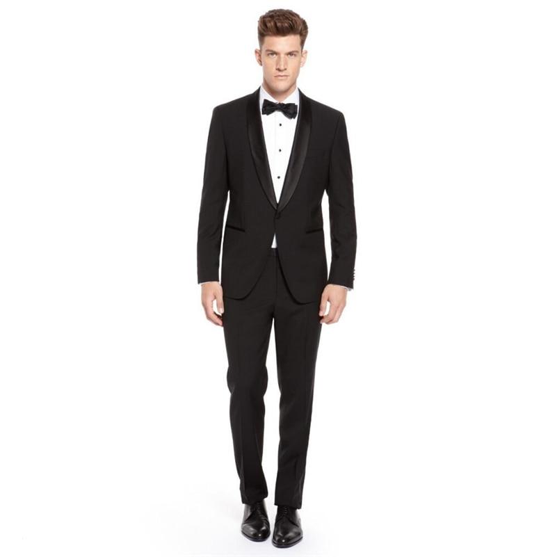 Custom Made Mens Suits Groomsmen Shawl Satin Lapel Groom Tuxedos Black Wedding Best Man Suit (Jacket+Pants+Tie+Girdle) B654
