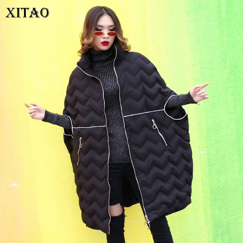 [XITAO] 2018 Winter Europe Fashion New Women Half Sleeve Loose Coat Female Pocket Solor Color Casual Thick   Parka   ZLL2606
