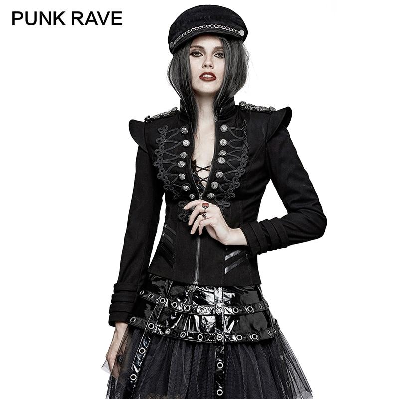 PUNK RAVE Punk Rock Autumn Plate Buckles Gothic Military Uniform Short Jackets Steampunk Coat Autumn Women