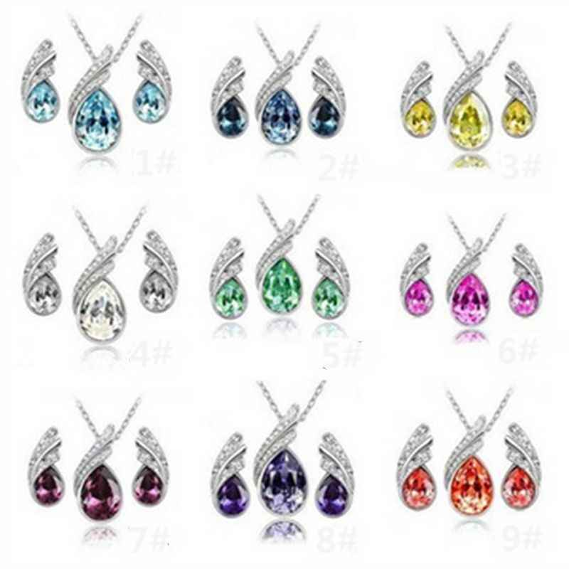 Fashion Women Wedding Silver Jewelry Set Crystal Earring Necklace Pendant Rhinestone New Suit Ear Stud 2019 Hot Sale Waterdrop