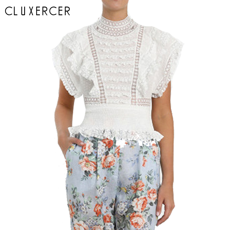 2019 New Summer Womens Tops and Blouses Casual Short Lace Hollow Out Blouse femme Sleeveless White Blouse in Blouses amp Shirts from Women 39 s Clothing