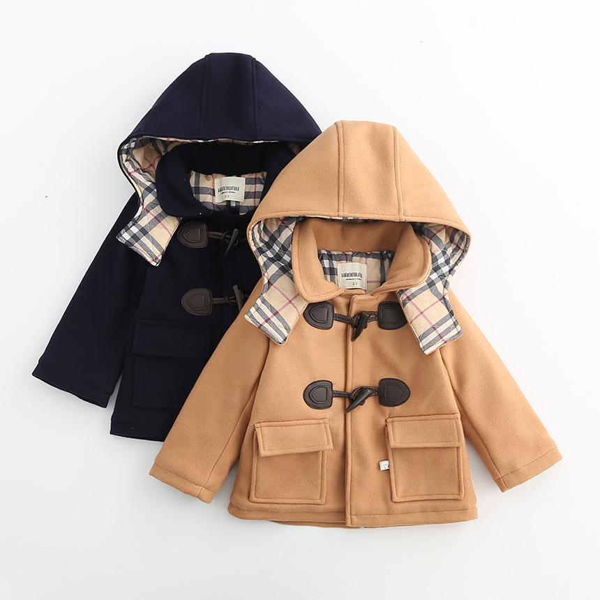 цена на Autumn and winter boys coat  Double breasted with hoody Woolen coat