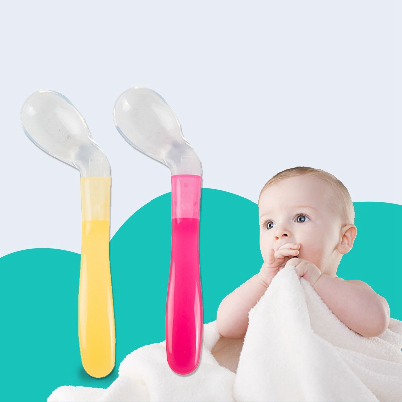 Baby Curved Spoon Baby Head Training Feeding Soft Spoon Elbow Tableware Soup Curved Silicone