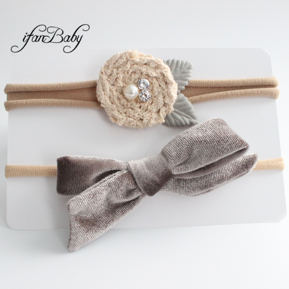 kids girl fabric flower headband nylon headband (17)