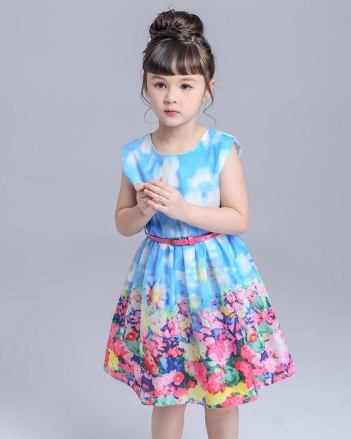New 2015 full flowers vest blue sleeveless girl styles recreational kind of sweet and lovely dress