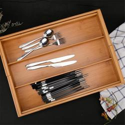 Expandable Cutlery Bamboo  Drawer Organizer Cutlery Tray Kitchen Multi-Functional Drawer Cutlery Storage Box