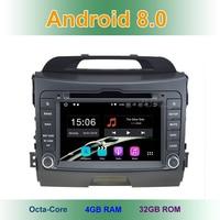 4 GB RAM Android 8.0 Car DVD Player for Kia Sportage 2010 2015 with Radio WiFi Bluetooth GPS