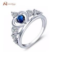 Dark Blue Austrian Crystal Ring Soild 925 Sterling Silver Heart Crown Clear CZ Finger September Birthstone Rings For Women Gift