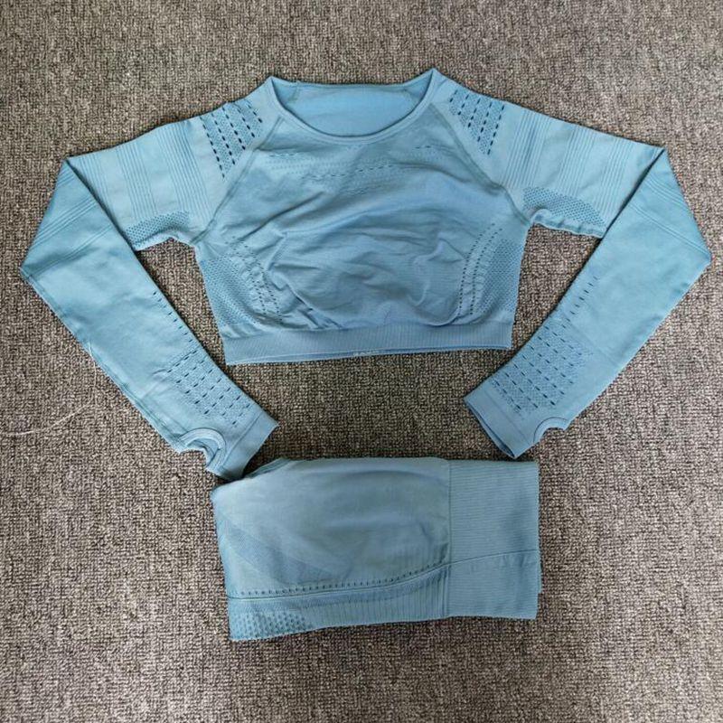 Women Seamless Yoga Sets High Waist Gym Mesh Leggings Shirts Suit Long Sleeve Fitness Workout Sports Running Thin Yoga Sets - sports