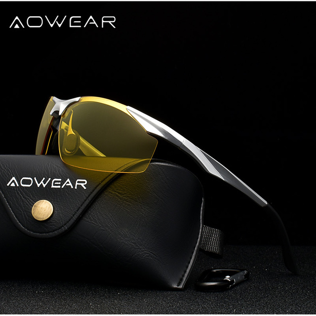 AOWEAR Mens Polarized Night Vision Glasses for Driving Goggles Aluminum Yellow Sunglasses Men High Quality Driver Eyewear