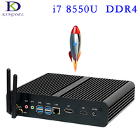 Новые 8th Gen Процессор DDR4 Mini PC i7 8550U 4 ядра 8 МБ Кэш HTPC безвентиляторный мини компьютер DP HDMI Win10 NUC неттоп UHD Graphics620