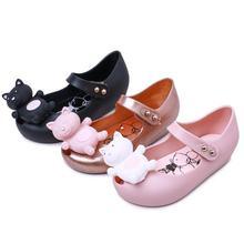 Melissa 2018 Twins Mini Mouse Animal Pattern Shoes New Winter Jelly Shoe Dargon Sandals Girl Non-slip Kids Sandal Toddler