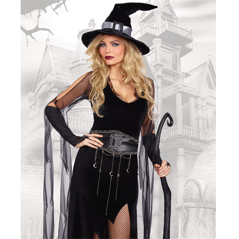 M-XL Sexy evil black Witch costume Halloween for Women adult Witch cosplay clothing clothing black queen Masquerade Party dress