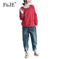 F & JE 2017 Jesień Moda Marka Odzież wszystko dopasowane Casual długi rękaw Koszulki Wysokiej Jakości Bawełna Luźne T koszula Kobiet Topy 312